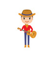 guy wearing cowboy clothes playing guitar isolated vector image