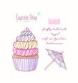 hand drawn rainbow cupcake vector image vector image