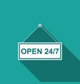 hanging sign with text open 24-7 hours icon vector image