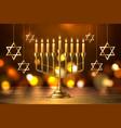 hanukkah jewish holiday menorah david star vector image