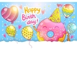 Happy Birthday card background with cute donut vector image vector image