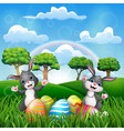 happy easter with two bunnies on the nature vector image vector image