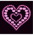 heart of pink roses on dark background vector image vector image