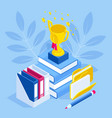 isometric achievements in education studying vector image