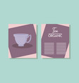 menu card with cuptea isolated icon vector image