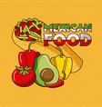 mexican food taco pepper tomato avocado vector image