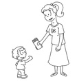mom is giving to her son pack of pencils vector image vector image
