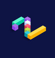 number 2 isometric colorful cubes 3d design vector image