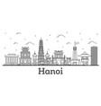 outline hanoi vietnam city skyline with modern vector image vector image