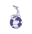 purple line contour of earth globe and paper plane vector image vector image
