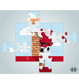 Puzzle Santa hanging on the chimney vector image vector image