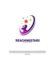reaching stars logo design concept child dream vector image