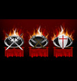 set medieval logos and red torn foldet banners vector image