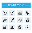 set of 12 editable mp3 icons includes symbols vector image vector image