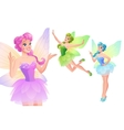 set of cute colorful fairies with butterfly vector image