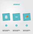 set of kitchen icons flat style symbols with vector image