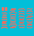 set of ribbons banners in coral color on blue vector image vector image