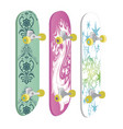 set of skateboards with different designs vector image