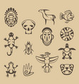 set of stylized native american symbols vector image vector image