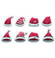 set red santa hat isolated on white vector image vector image