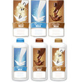 set three labels chocolate and vanilla milk vector image