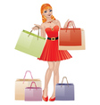 Shopping girl with red hair vector image vector image