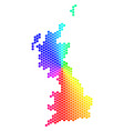 spectrum hexagon great britain map vector image vector image
