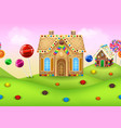 sweet candyland with gingerbread house vector image vector image
