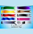 ten colorful numbered flag set vector image