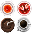 Top view of hot and cold drinks vector image vector image