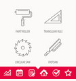 triangular rule paint roller and fretsaw icons