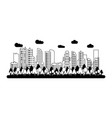 urban city buildings view cartoon in black and vector image vector image