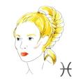 Watercolor Pisces girl vector image
