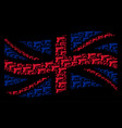 waving uk flag mosaic of pistol gun items vector image