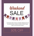 weekend sale purple banner with flags vector image