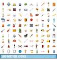 100 metier icons set cartoon style vector image