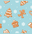 christmas cookies seamless pattern gingerbread vector image