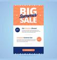 Big summer sale newsletter template vector image