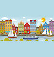 old town and river european city vector image