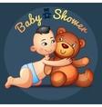 asian baby boy with hugs teddy bear toy on a grey