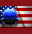 baseball helmet and american flag vector image vector image