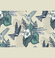 beautiful seamless pattern with tropical flowers vector image