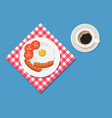 breakfast plate with fried egg and sausage vector image vector image