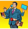 Business successful businessman multitasking vector image vector image