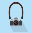 camera in a flat style with strap vector image vector image