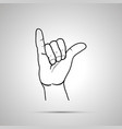 cartoon hand in shaka gesture simple outline icon vector image