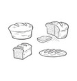 cartoon some variety bread in monochrome vector image