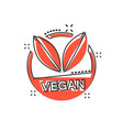 cartoon vegan label badge icon in comic style vector image vector image