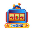 casino online service promo emblem with fruit vector image vector image