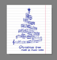 Christmas tree from music notes vector image vector image